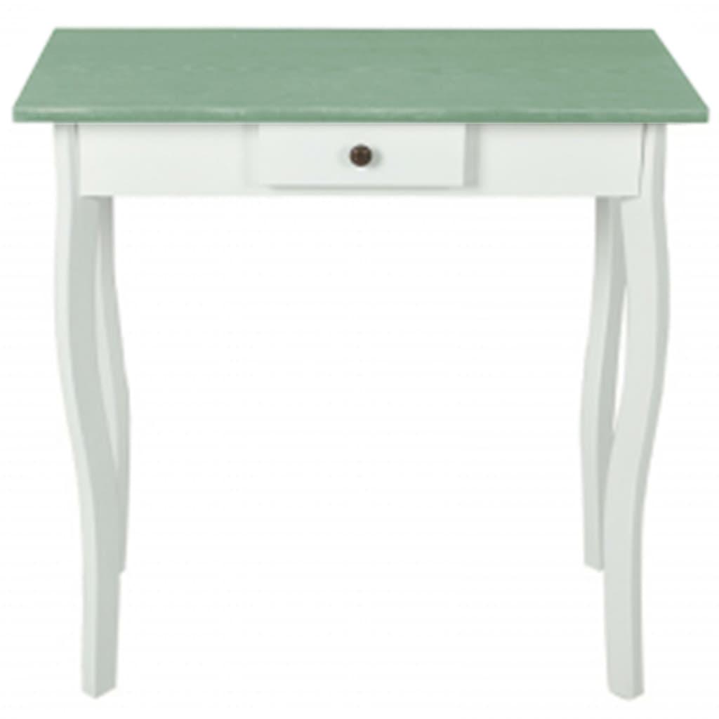 Bílý stolek ve venkovském stylu s šedozelenou deskou