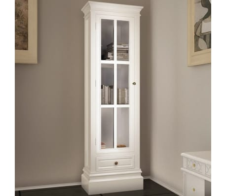 vidaXL Chic Bookcase Cabinet with 3 Shelves White Wooden[3/7]