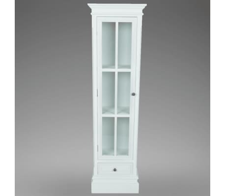 vidaXL Chic Bookcase Cabinet with 3 Shelves White Wooden[4/7]