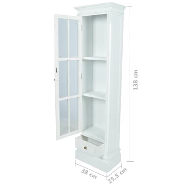 vidaXL Chic Bookcase Cabinet with 3 Shelves White Wooden[7/7]