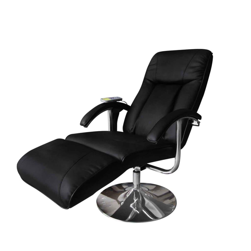 vidaXL Fotel masujący, czarny, sztuczna skóra