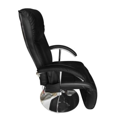 vidaXL Masažinis krėslas, elektrinis, dirbt. oda, reguliuojamas, juodas[4/8]