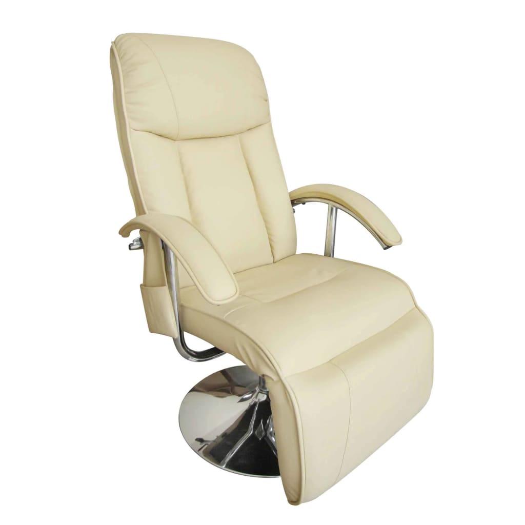vidaXL Elektrické masážne kreslo z umelej kože, krémovo-biele