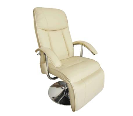 vidaXL Sillón de masaje eléctrico de piel sintética blanco crema [1/7]