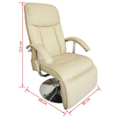 vidaXL Sillón de masaje eléctrico de piel sintética blanco crema [3/7]