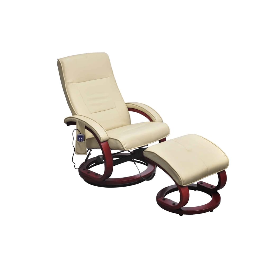 vidaXL Fotel masujący z podnóżkiem, kremowy, sztuczna skóra