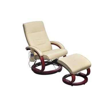 vidaXL Masažinis krėslas su kėdute kojoms, elektrinis, dirbt. oda, krem.[1/9]