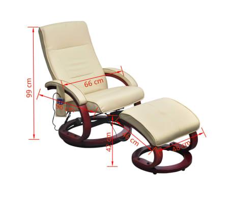 vidaXL Masažinis krėslas su kėdute kojoms, elektrinis, dirbt. oda, krem.[7/9]
