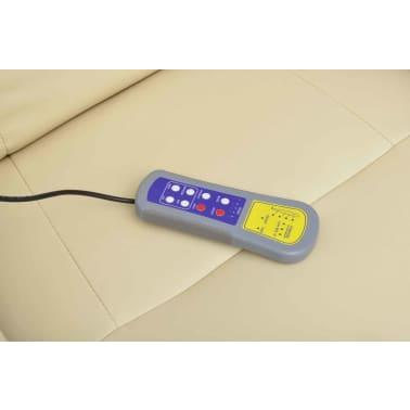 vidaXL Masažinis krėslas su kėdute kojoms, elektrinis, dirbt. oda, krem.[4/9]