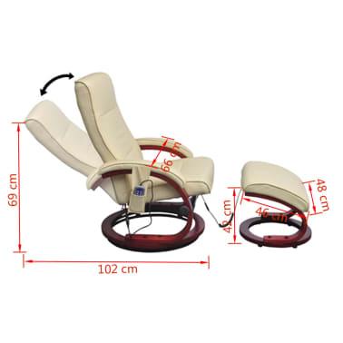 vidaXL Masažinis krėslas su kėdute kojoms, elektrinis, dirbt. oda, krem.[8/9]