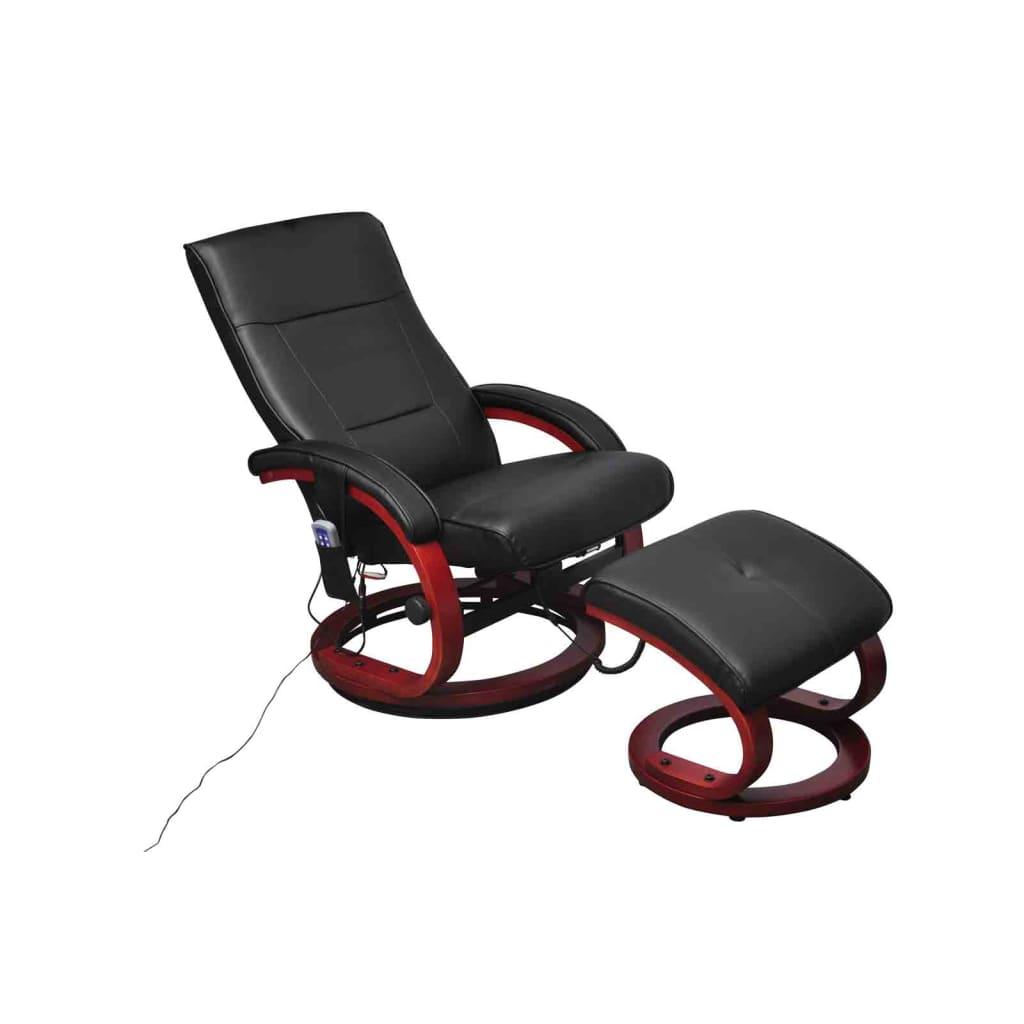 vidaXL Elektrické masážne kreslo s podnožkou, umelá koža, čierne