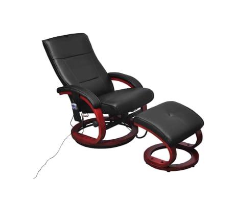 vidaXL Masažinis krėslas su pakoja, juodas, dirbtinė oda