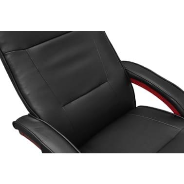 vidaXL Masažinis krėslas su pakoja, juodas, dirbtinė oda[5/8]