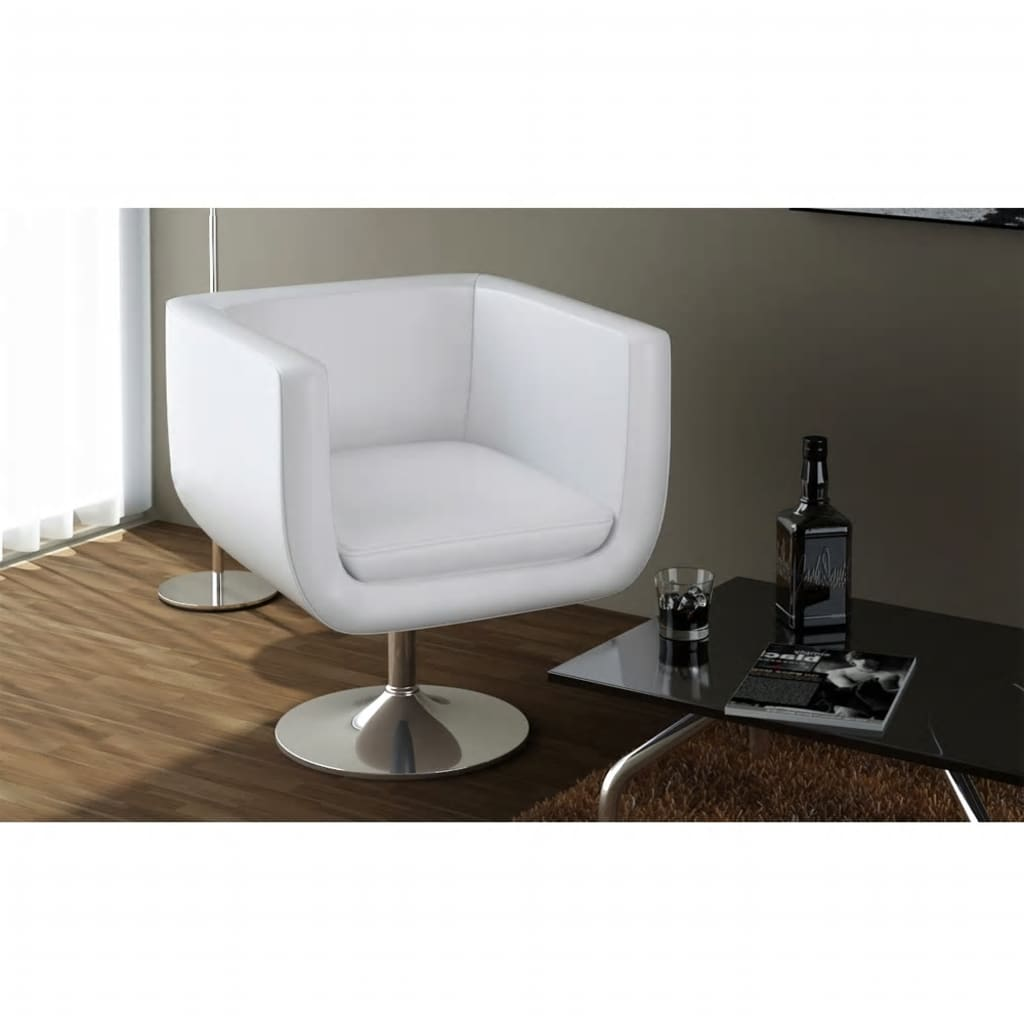 Barová židle, umělá kůže, bílá