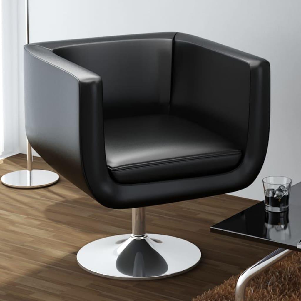 Barová židle, umělá kůže, černá