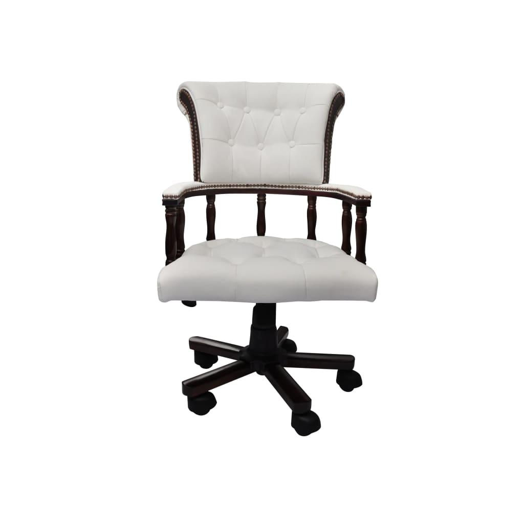 vidaXL Καρέκλα Γραφείου Chesterfield Περιστρεφόμενη Στυλ Καπετάνιου Λευκή