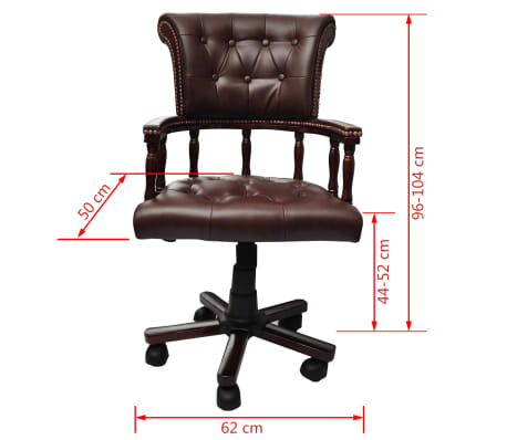Chesterfield Captains Swivel Office Chair Brown[6/6]