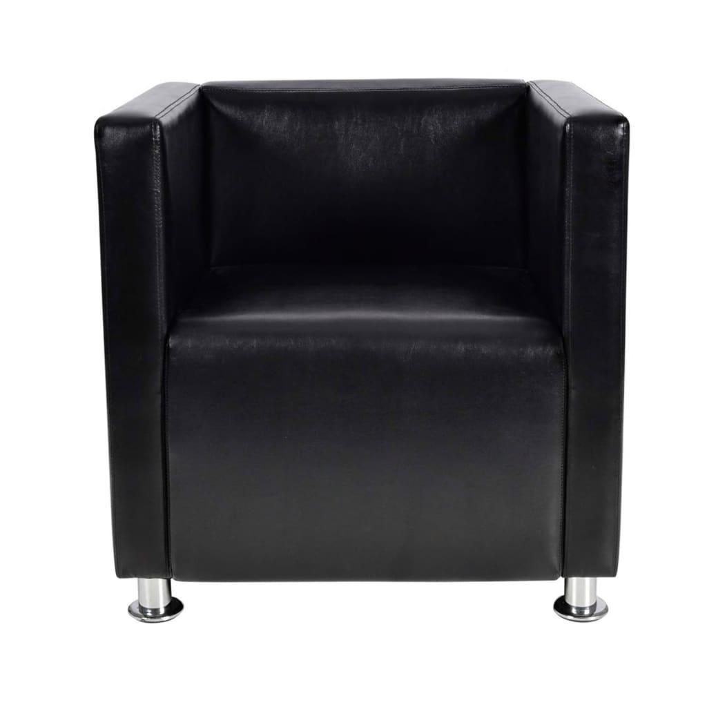 vidaXL Πολυθρόνα Cube Μαύρη από Συνθετικό Δέρμα
