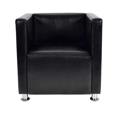 vidaXL fekete műbőr fotel [2/5]