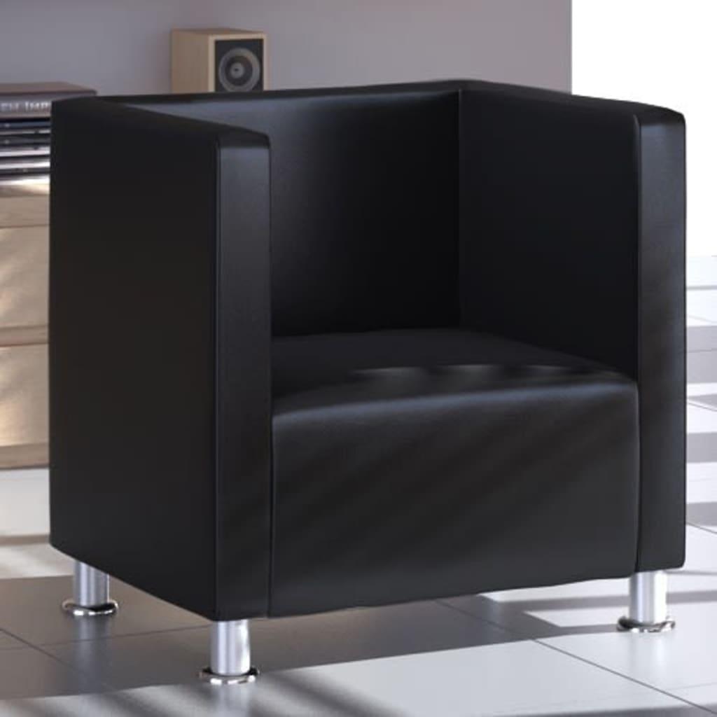 vidaXL fekete műbőr fotel