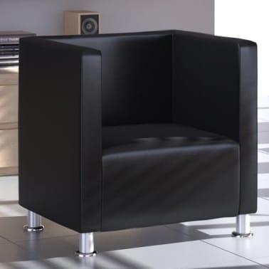 vidaXL fekete műbőr fotel [1/5]