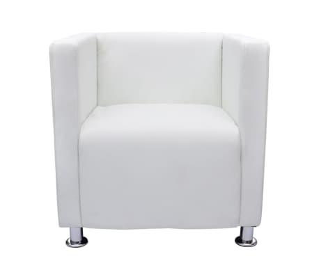 vidaXL Fotel kubik, biały, sztuczna skóra