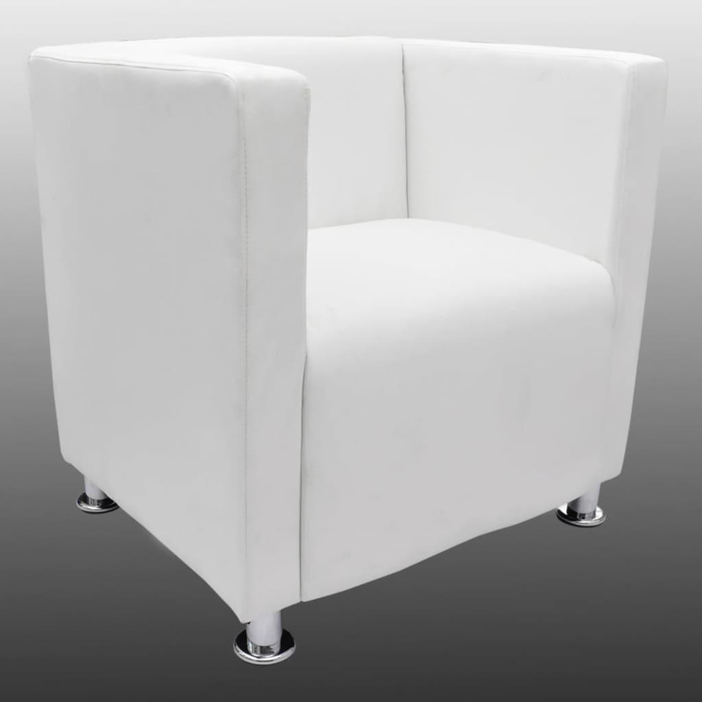 Stoelen vidaXL Fauteuil met kubusontwerp Carenno kunstleer wit met veel voordeel Fauteuils, relaxstoelen en slaapfauteuils
