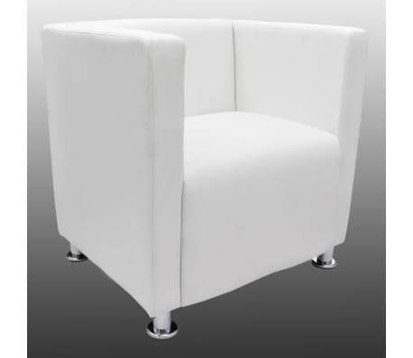 vidaXL Krėslas, kubo formos dizainas, dirbtinė oda, baltas[3/5]