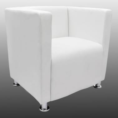 vidaXL Kreslo z umelej kože v tvare kocky, biele[3/5]