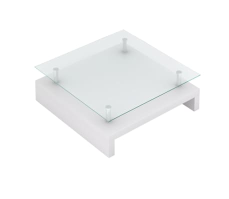 vidaXL Coffee Table with Glass Top White[2/6]