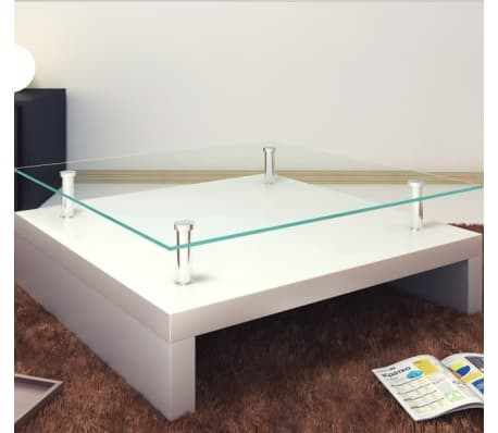 vidaXL Coffee Table with Glass Top White[3/6]