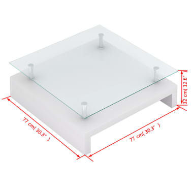 vidaXL Coffee Table with Glass Top White[6/6]