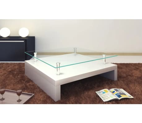 vidaXL Coffee Table with Glass Top White[1/6]