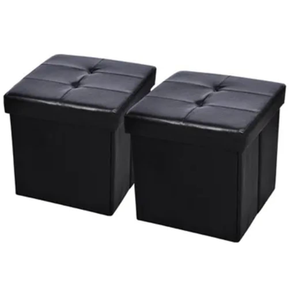 Afbeelding van vidaXL Hocker opvouwbaar 45 x 45 cm zwart (2 stuks)
