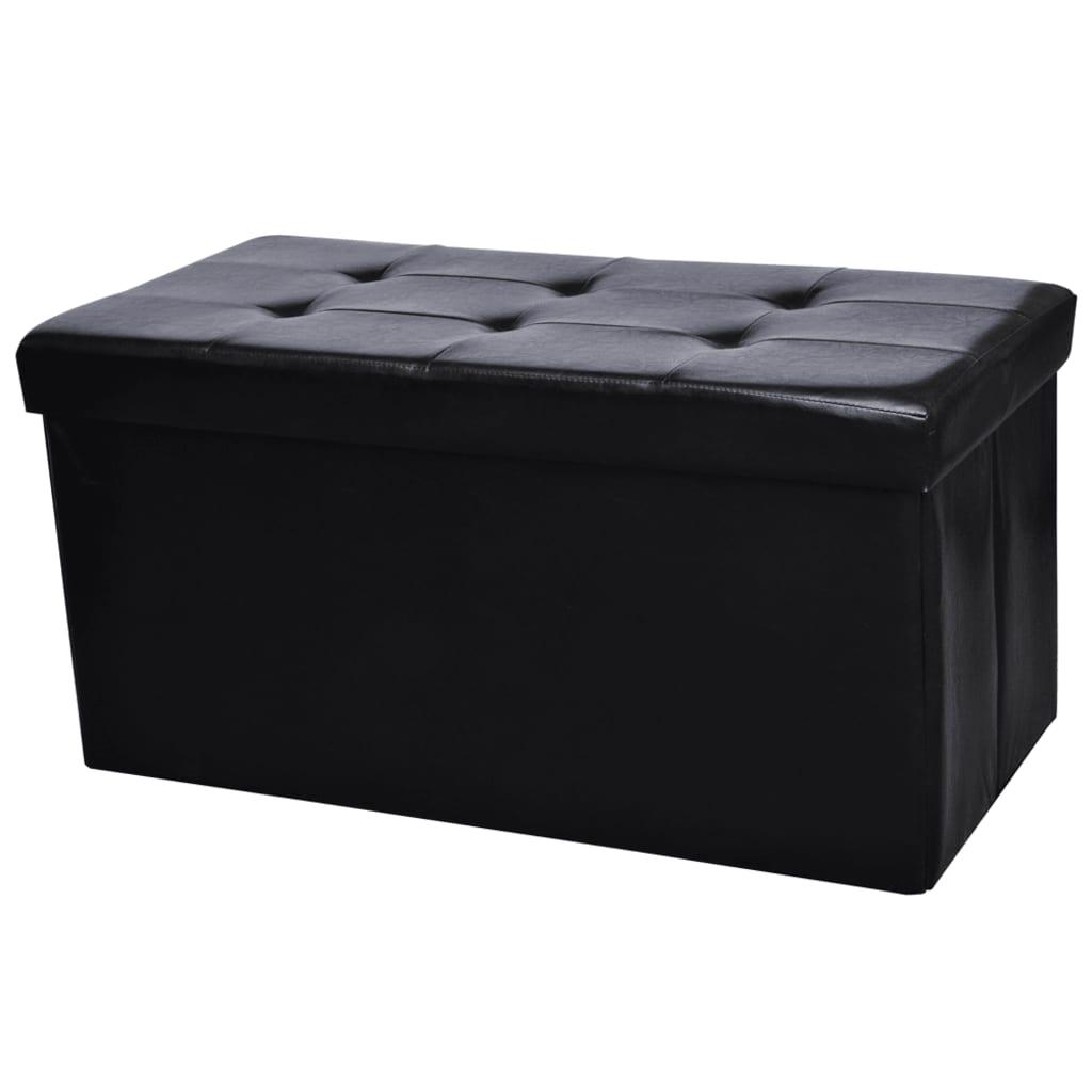 Afbeelding van vidaXL Hocker opvouwbaar 90 x 45 cm zwart