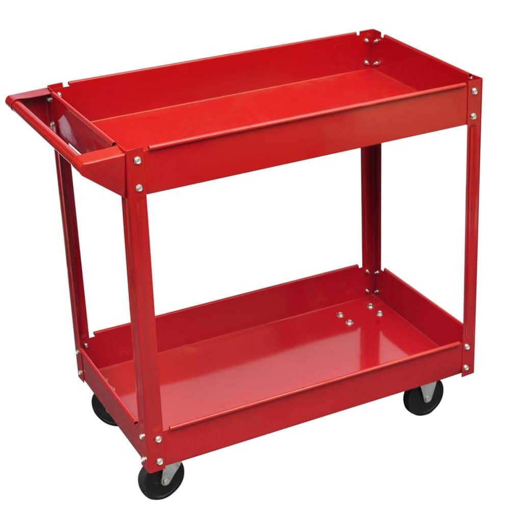 Dílenský vozík se 2 policemi a 4 kolečky 100 kg červený