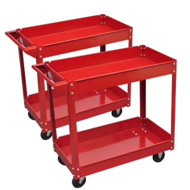 2 x Workshop Tool Trolley 100 kg 2 Shelves[1/4]