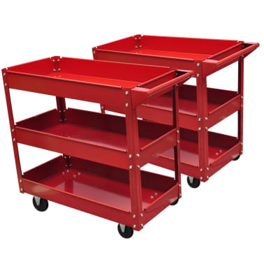 2 x Workshop Tool Trolley 220 lbs 3 Shelves[1/4]
