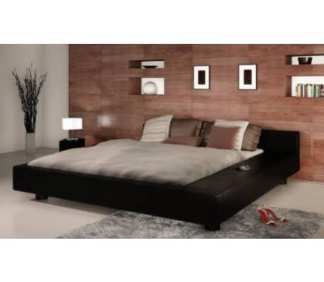 acheter lit carr en simili cuir 2 personnes king size 180 x 200 cm pas cher. Black Bedroom Furniture Sets. Home Design Ideas