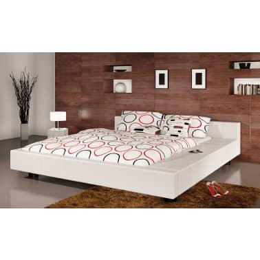 Skai Leren Bed.2 Persoons Bed Futon Wit Leer 140 X 200 Vidaxl Nl