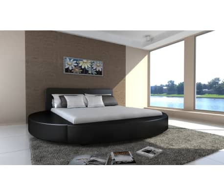 polsterbett rundbett 180x200 cm schwarz zum schn ppchenpreis. Black Bedroom Furniture Sets. Home Design Ideas