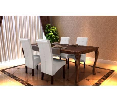acheter chaise antique simili cuir blanc lot de 4 pas cher. Black Bedroom Furniture Sets. Home Design Ideas