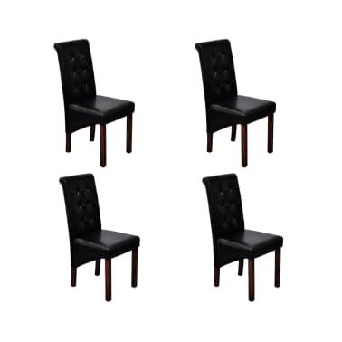 acheter chaise antique simili cuir noir lot de 4 pas cher. Black Bedroom Furniture Sets. Home Design Ideas