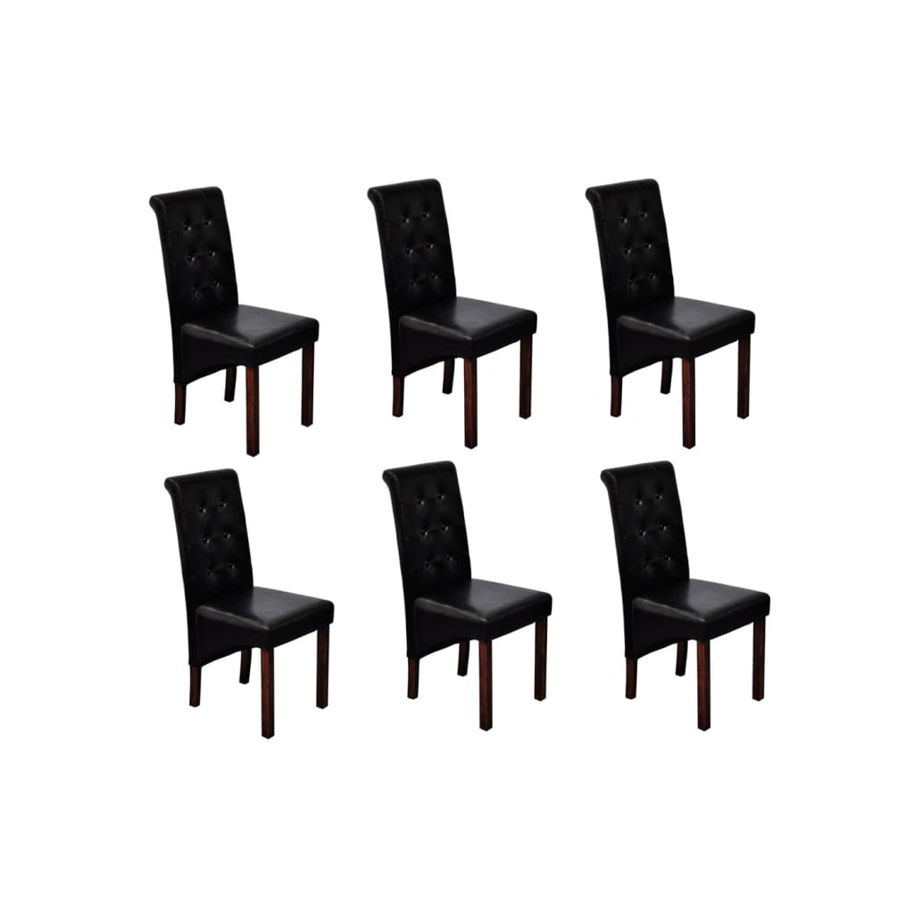 vidaXL Chaise en simili cuir antique noir (lot de 6)