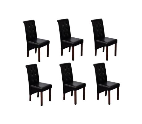 vidaXL Valgomojo kėdės, 6vnt., juodos, dirbtinė oda