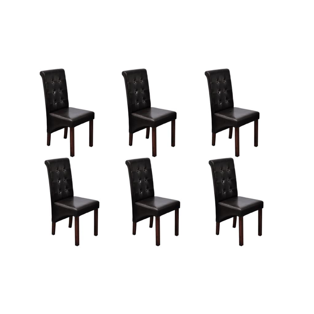 vidaXL Καρέκλες Τραπεζαρίας Υψηλής Ποιότητας 6 τεμ. Καφέ