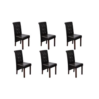 acheter chaise antique simili cuir brun lot de 6 pas cher. Black Bedroom Furniture Sets. Home Design Ideas