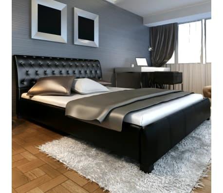 lit double en simili cuir noir capitonn 180 200cm. Black Bedroom Furniture Sets. Home Design Ideas
