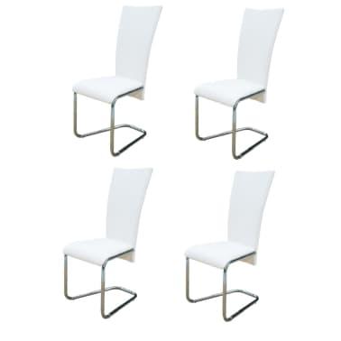 Vidaxl 4 pz sedie per sala da pranzo bianche for Sedie bianche sala da pranzo