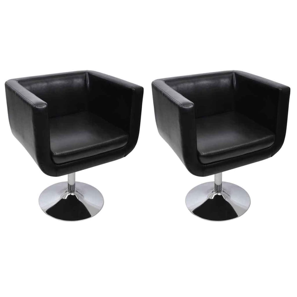 vidaXL Chaise de bar 2 pcs Cuir artificiel Noir